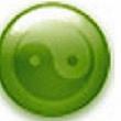 térhatásó zöld jin-jang szimbólum